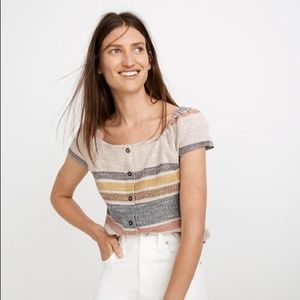 Madewell Texture & Thread Button Front Top